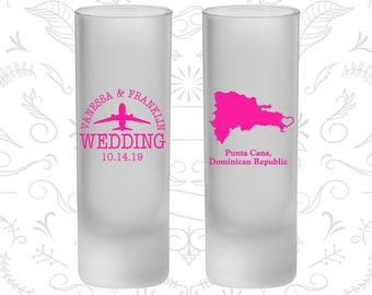 Dominican Republic Wedding, Frosted Tall Shot Glasses, Destination Wedding, Punta Cana Wedding (172)