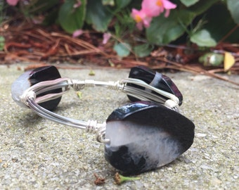 Silver black agate wire-wrapped bangle bracelet