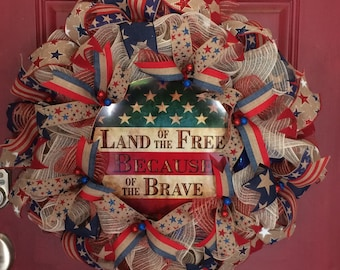 Wreath Patriotic Americana, 4th of July, Veterans, Labor, & Memorial Day,  Land of the Free Because of the Brave. Front Door, Red, Tan, Blue