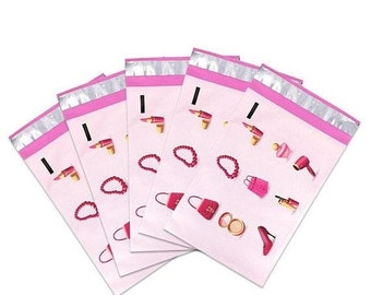 TAX SEASON Stock up 25 Pack Tear Proof Make Up Design Plastic Poly Mailing Self Stick Closing Envelopes  6X9 Inches