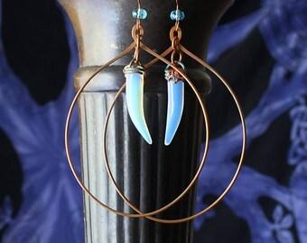 Large Hoop Copper Earrings, Ethnic Boho Tribal Copper Earrings Antiqued Copper Handmade Boho Jewelry Earrings Wife Gift For Her Girlfriend