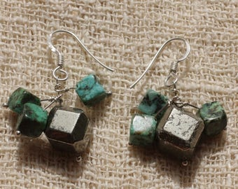Sterling Silver 925 Turquoise of Africa and Pyrite earrings
