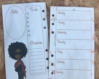 2018 Printed Fashion Illustration Inserts, Fashionista Week on 1 Page Planner, Pocket, Personal and A5 size, Agenda Filler, 3 months