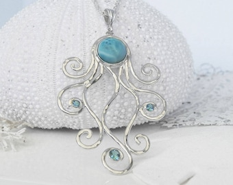 Octopus Necklace - Larimar Octopus Pendant - Larimar Jewelry - Statement Necklace - Unique Sterling Silver Octopus Jewelry - Ocean Blue