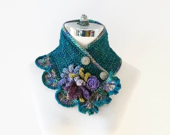 Floral Scarf, Iris, Daisy, Rose Scarf in Teal Blue, Purple, Green, SPECIAL EDITION, Art Nouveau style scarf with floral accents