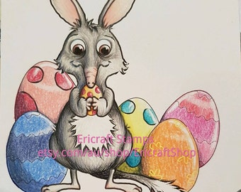 Digital Stamp- Bilby and Egg - PNG image for cards and crafts by Erica Bruton