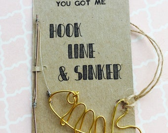 Hook line and sinker handmade wire fish on backing card/label, choice of colours, gift