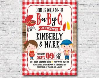 bbq baby shower invitation, Babyq Invitations, Barbecue Invite, Digital Files, You Print!