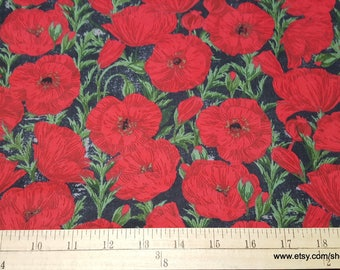 Flannel Fabric - Poppy - By the yard - 100% Cotton Flannel