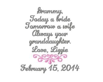 GRANDMOTHER Of The BRIDE Handkerchief  - Wedding - Hanky - Hankie - Today A Bride, Always Your GRANDDAUGHTER