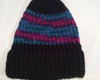 black with multi color stripe knit hat/ beanie