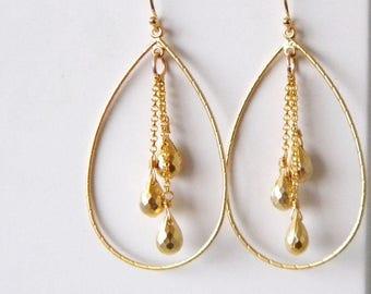 Gold Hoop Earrings, Gold Teardrop Hoop Earrings, Gold Tassel Earrings, Statement Earrings, Bohemian Teardrop Hoop Earrings