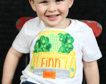 Boys St. Patrick's Day Shirt - St. Patricks Day for Boys - Toddlers St. Patricks Day -  Truck Shirt - Shamrocks - Personalized -Embroidered
