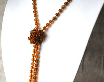 Amber Glass Necklace, Long Necklace, Flapper Length, 50 Inches, KC105
