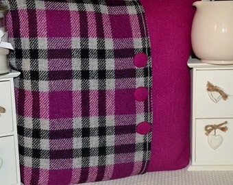 """HARRIS TWEED CUSHION cover - 18 by 18"""" - includes cushion pink & pink tartan"""