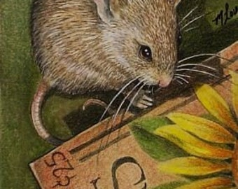 ACEO OE Giclee Print Mouse Art  Melody Lea Lamb