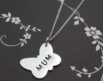 Silver Butterfly Necklace with 'Mum' Print