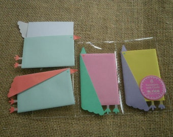 """Set of 6 small envelopes + cards """"birds"""", different colors"""