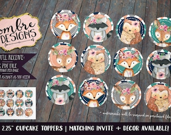 Woodland Cupcake Toppers, Woodland Birthday, First Birthday, Woodland Animals, Party Decor, First Birthday, Baby Shower, Coral, Turquoise