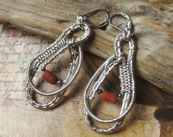 Wire wrapped silver earrings