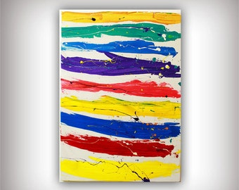 Acrylic Abstract Canvas Painting 31x24 Original Modern Wall Art - Happy Day,  !