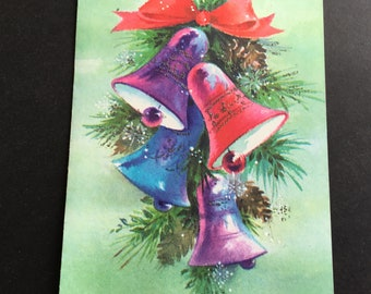 Vintage Christmas greeting card, pink, purple & blue bells, sparkles, Hampshire