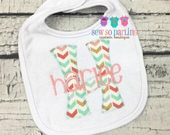 Monogrammed Baby girl Bib - Personalized Bib - Baby Bib - monogrammed bib - baby bib with name - Tribal baby girl bib - baby girl gift
