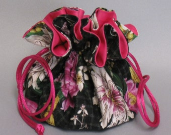Jewelry Tote---Drawstring Organizer Pouch--- Butterfly Floral Design---Regular Size