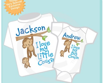 Set of Two I Love My Big Cousin and I Love My Little Cousin Monkey Boys Set of one tee and one onesie (06032012b)