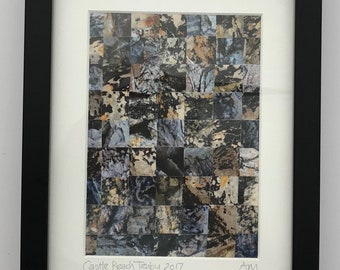 Original  photographs of beaches, coastlines and seascapes, cut and reassembled in mosaic inspired design
