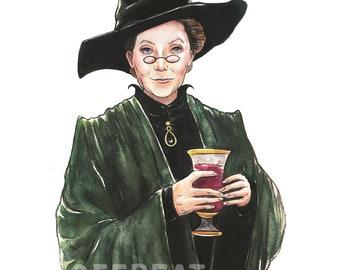 Minerva McGonagall Hogwarts Professor Watercolor Portrait Poster Print Art