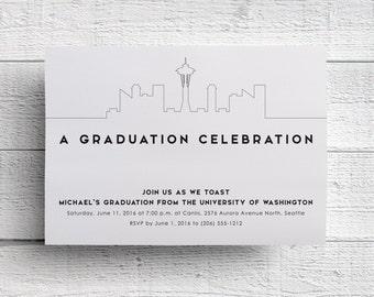 Seattle Graduation Invitation, Seattle Party, Seattle Skyline, Printable Invitation, Printable Invite, Seattle Graduation