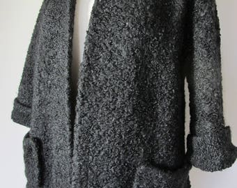 Vintage 1950s CHUNKY Pure Wool JET BLACK Warm  Jacket ~ Au. 10 - 12  S  M
