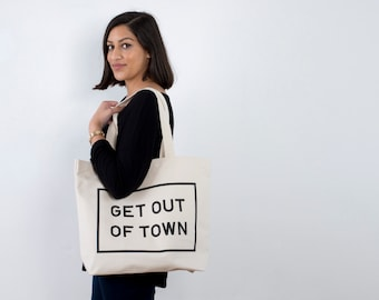 Canvas Gym Bag - Large Canvas Tote - Weekender Bag - Everyday Bag - Get Out of Town Canvas Bag - Gifts for Travel - Alphabet Bags