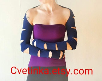 NAVY BLUe SLEEVES GOTH Sleeves Fitted Sleeves Festival Top 2018 Outfit Cut Out Sleeves Tattoo Covers Black Armwarmers