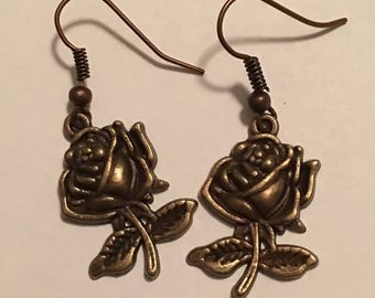 Victorian Style Rose Dang Earrings for Pierced Ears, Steampunk Inspired, Victorian Style