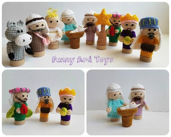 Amigurumi Nativity Español : Crochet nativity finger puppet fairytale gift nativity set