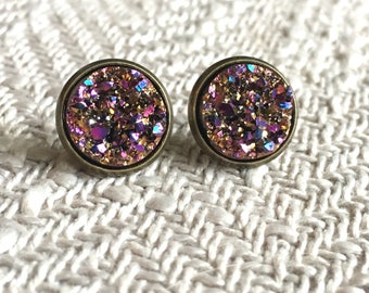 Rainbow druzy earrings, rainbow druzy studs, purple druzy, gold druzy, faux druzy, 12mm druzy, 12mm studs, multicolor druzy, boho earrings