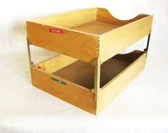 Charmant Vintage Tiered Wooden Paper Tray, In Out Box, Office Storage, Desk  Organization,