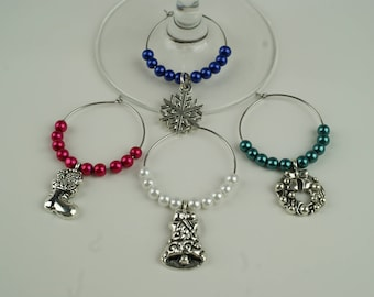 Xmas Wine Charms-4pc