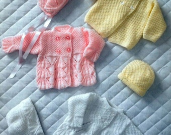 BABY KNITTING PATTERN - Baby Bebe - Prem sizes to 6 months Baby Jackets/Sweaters, Bonnets and Hat