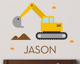 Digger Wall Decal, Digger Decal, Excavator Decal, Excavator Wall Sticker, Construction Wall Sticker, Custom Name Decal, Personalized Decal