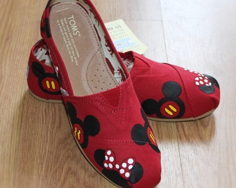Mickey Mouse TOMS and Minnie Disney heads bow Park Custom hand painted canvas slip-on shoe zapatillas pintadas