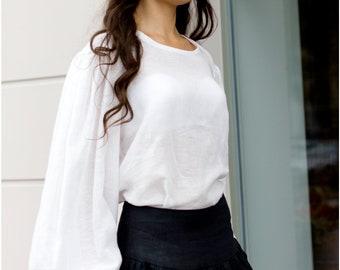 Ready to ship, White linen blouse, linen blouse, blouse, natural linen blouse, handmade linen blouse ,white blouse, medieval stile