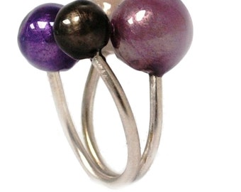 Purple four bubbles ring in sterling silver