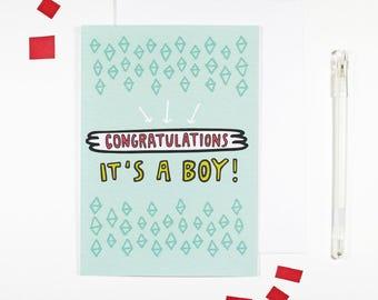 It's A Boy New Baby Boy Congratulations Card