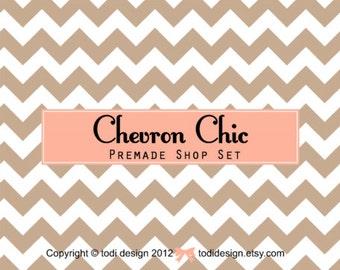 Sherbet Chevron Chic -  Premade Etsy Shop Banner set