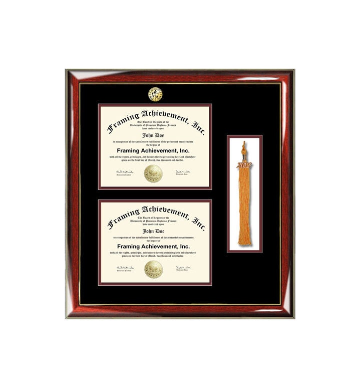 Graduation tassel diploma frame college major logo double