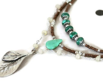 Dark Green Malachite,Turquoise,Pale Yellow Calcite, Seed Bead and Antiqued Silver Double Leaf Multi Strand Boho Style Necklace