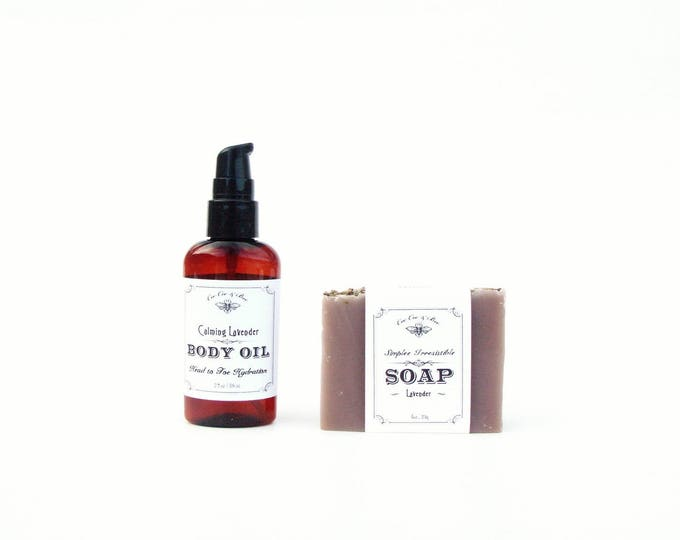 Calming Lavender Gift Set - Face and Body Oil & Bar Soap - on sale